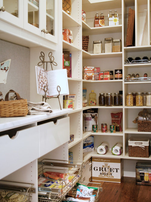 Traditional Kitchen Pantry Designs   Elegant Kitchen Pantry Photo In  Atlanta With Open Cabinets And White