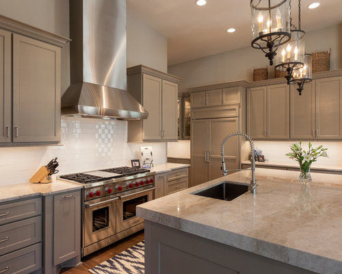 Great Elegant Kitchen Photo In Houston With An Undermount Sink, Recessed Panel  Cabinets, Beige