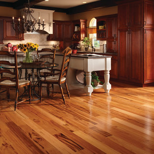 Inspiration For A Mid Sized Transitional L Shaped Dark Wood Floor And Brown