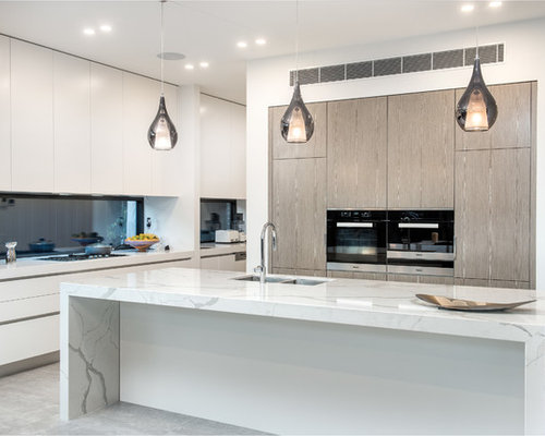 This Is An Example Of A Contemporary Galley Kitchen In Melbourne With A  Double Bowl