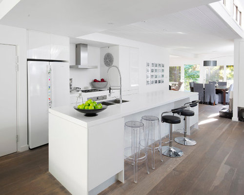 white fridge in kitchen. trendy galley open concept kitchen photo in sydney with a double-bowl sink, flat white fridge k