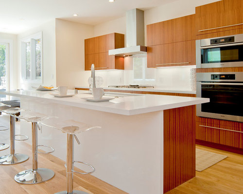 Bellmont Cabinets Sapele Natural Wood   CaesarStone Countertop