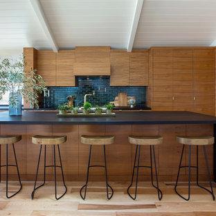 Modelo de cocina de galera, contemporánea, con armarios con paneles lisos, puertas de armario de madera en tonos medios, salpicadero negro, electrodomésticos de acero inoxidable, suelo de madera clara, una isla y suelo marrón