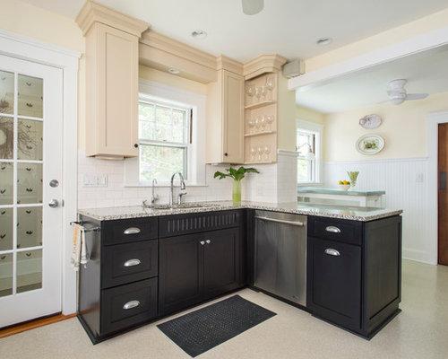 k che mit beigen schr nken und linoleum ideen bilder. Black Bedroom Furniture Sets. Home Design Ideas