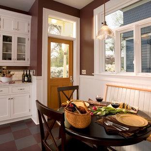 Contemporary kitchen pictures - Inspiration for a contemporary kitchen remodel in Portland with recessed-panel cabinets, white cabinets, white backsplash and subway tile backsplash