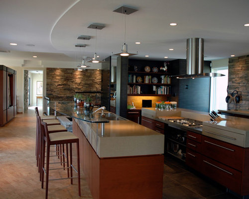Kitchen Design Ideas Renovations Photos With Cork Flooring And Multiple Islands