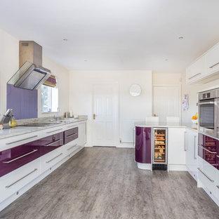 他の地域のコンテンポラリースタイルのおしゃれなキッチン (フラットパネル扉のキャビネット、紫のキャビネット、ガラス板のキッチンパネル、シルバーの調理設備の、アイランドなし、グレーの床、ベージュのキッチンカウンター) の写真