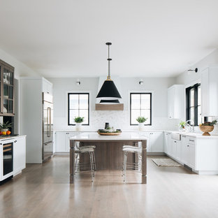 Transitional kitchen designs - Inspiration for a transitional u-shaped medium tone wood floor and & Beautiful White Kitchen Cabinet Ideas | Houzz