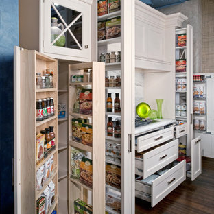 Small traditional kitchen pantry remodeling - Small elegant dark wood floor kitchen pantry photo in New York with recessed-panel cabinets, white cabinets, marble countertops, a farmhouse sink, gray backsplash, mosaic tile backsplash, paneled appliances and no island
