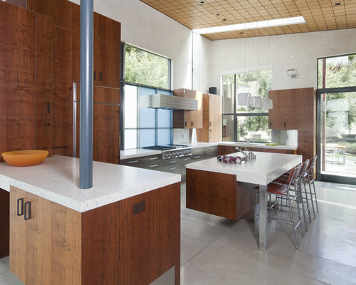 Contemporary Kitchen Idea In San Francisco With Flat Panel Cabinets, Dark  Wood Cabinets,