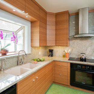 Идея дизайна: кухня в современном стиле с техникой из нержавеющей стали, гранитной столешницей и зеленым полом