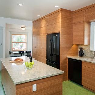 サンフランシスコのコンテンポラリースタイルのおしゃれなキッチン (御影石カウンター、ダブルシンク、フラットパネル扉のキャビネット、中間色木目調キャビネット、黒い調理設備、緑の床) の写真
