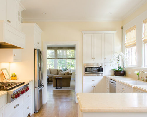 Example Of A Small Classic Kitchen Design In San Francisco With An  Undermount Sink, White