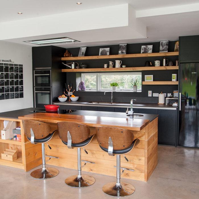 Black Kitchen with Bespoke Island