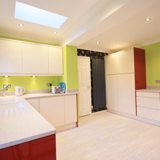 Bespoke Eclectic Kitchen Design Cream and Red Gloss
