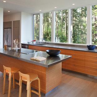 Foto di una cucina parallela minimal di medie dimensioni con top in acciaio inossidabile, ante lisce, ante in legno scuro, elettrodomestici in acciaio inossidabile, lavello a vasca singola, parquet chiaro e isola