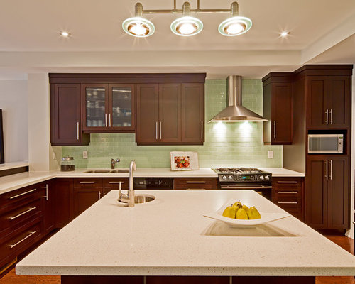 Dark Cabinets Glass Backsplash Ideas, Pictures, Remodel and Decor