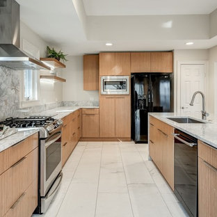 Contemporary kitchen ideas - Kitchen - contemporary l-shaped white floor kitchen idea in Dallas with an undermount sink, flat-panel cabinets, medium tone wood cabinets, gray backsplash, stone slab backsplash, black appliances, an island and gray countertops
