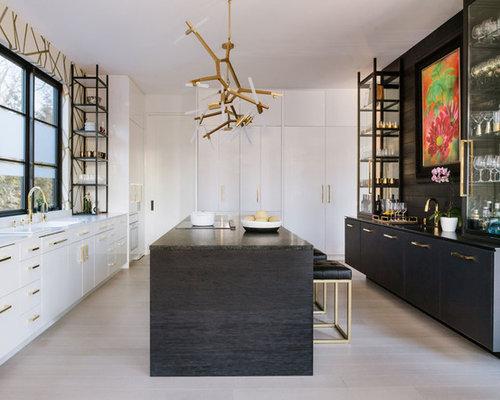 k chen mit wei en schr nken und quarzit arbeitsplatte ideen bilder. Black Bedroom Furniture Sets. Home Design Ideas