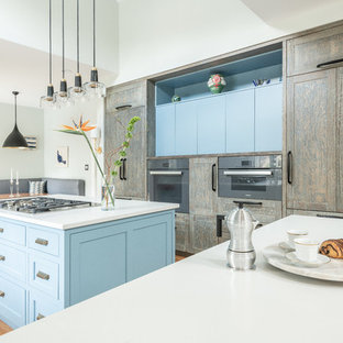 Large transitional kitchen pantry designs - Kitchen pantry - large transitional l-shaped kitchen pantry idea in DC Metro with shaker cabinets, blue cabinets, wood countertops, blue backsplash, ceramic backsplash, paneled appliances and an island