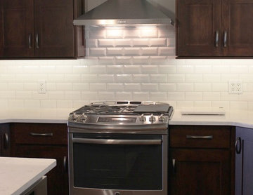 Bettendorf, IA- Kitchen in Dark Mocha Cabinetry With Painted Gray Accent Island