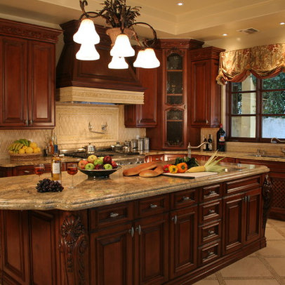 Color of granite with antique white cabinets and dark wood floor