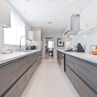 ロサンゼルスの中くらいのモダンスタイルのおしゃれなキッチン (アンダーカウンターシンク、フラットパネル扉のキャビネット、グレーのキャビネット、珪岩カウンター、赤いキッチンパネル、シルバーの調理設備、磁器タイルの床、アイランドなし、ターコイズの床) の写真