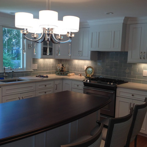 Beverly, MA Kitchen White Cabinetry, Engrain Wood Top