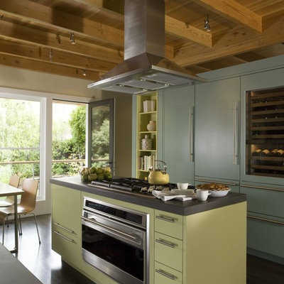 Example of a mid-sized eclectic l-shaped dark wood floor open concept kitchen design in San Francisco with green cabinets, paneled appliances, an island, an undermount sink, open cabinets and black backsplash