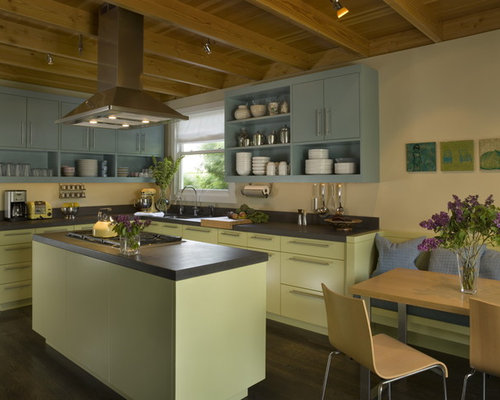 Example Of A Mid Sized Eclectic L Shaped Open Concept Kitchen Design In San