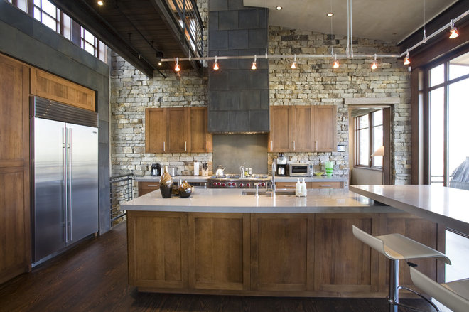 Industrial Kitchen by Spot Design, Inc.