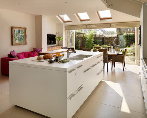 large contemporary open concept kitchen designs example of a large trendy l shaped porcelain - Glass Sheet Kitchen Design