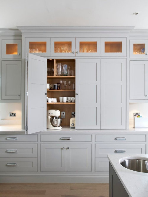Kitchen Photo In Dublin With Beaded Inset Cabinets Gray Cabinets
