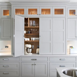 Transitional kitchen ideas - Transitional kitchen photo in Dublin with beaded inset cabinets, gray cabinets, quartz countertops and an undermount sink
