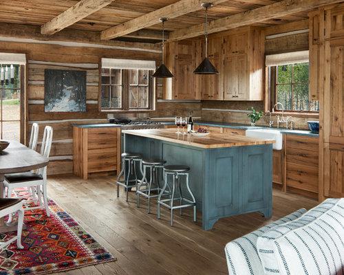medium oak kitchen cabinets. Mid-sized Rustic Open Concept Kitchen Ideas - Mountain Style L- Medium Oak Cabinets