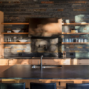 Mid-sized rustic kitchen designs - Mid-sized mountain style kitchen photo in Seattle with a double-bowl sink, light wood cabinets, quartz countertops, an island, open cabinets, multicolored backsplash, slate backsplash and paneled appliances