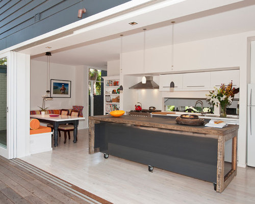 Island bench houzz for Galley kitchen with island bench
