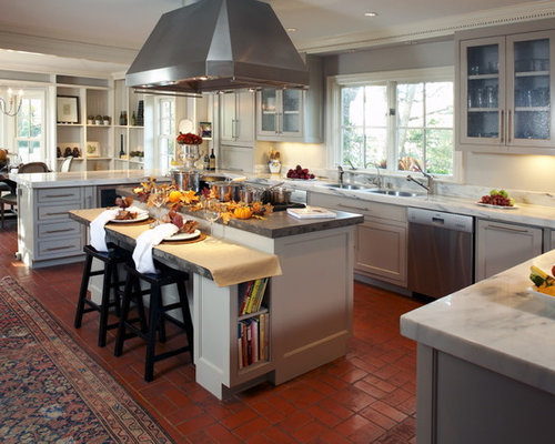 Traditional Kitchen Idea In Dallas With Glass Front Cabinets And Marble  Countertops Gallery
