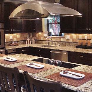 サンフランシスコの大きいラスティックスタイルのおしゃれなキッチン (アンダーカウンターシンク、シェーカースタイル扉のキャビネット、濃色木目調キャビネット、御影石カウンター、マルチカラーのキッチンパネル、石タイルのキッチンパネル、シルバーの調理設備の、トラバーチンの床) の写真