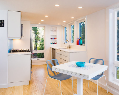 Contemporary Eat In Kitchen Pictures   Example Of A Trendy Galley Medium  Tone Wood Floor