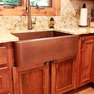 Small Rustic Eat In Kitchen Ideas Example Of A Mountain Style U