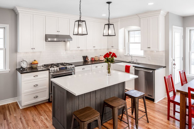 reclaimed siding and red accents personalize a white kitchen rh houzz com