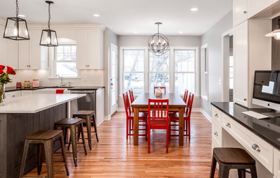 Reclaimed Siding and Red Accents Personalize a White Kitchen
