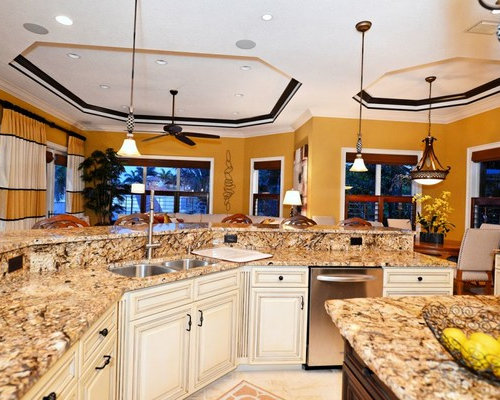 Kitchen Design Ideas Renovations Photos With Limestone Floors And Multiple Islands