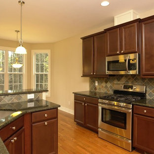 Enclosed Kitchen Mid Sized Traditional U Shaped Medium Tone Wood Floor Save Photo Black And Brown