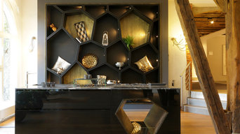 black and golden kitchen