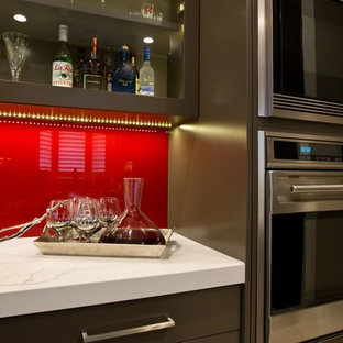 Black and Red Contemporary Kitchen