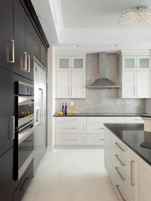 Mid Sized Contemporary Kitchen Designs   Mid Sized Trendy Ceramic Floor And  White Floor