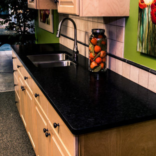 Black Antique granite kitchen by Down East Fabrication