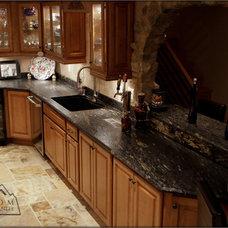 Mediterranean Kitchen Countertops by Custom Marble & Granite